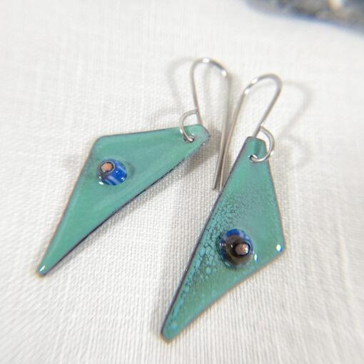 seafoam green enameled copper geometric triangle earrings with murrini glass