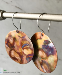 big round copper flame painted earrings