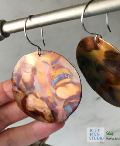 big round flame painted copper earrings