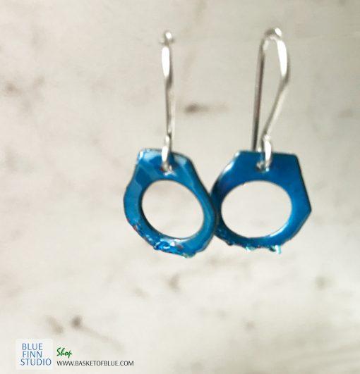 Blue Enamel Handcuff Earrings
