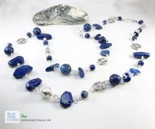 Long blue lapis necklace