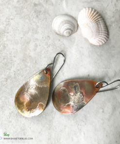 Mixed metal rustic oval earrings