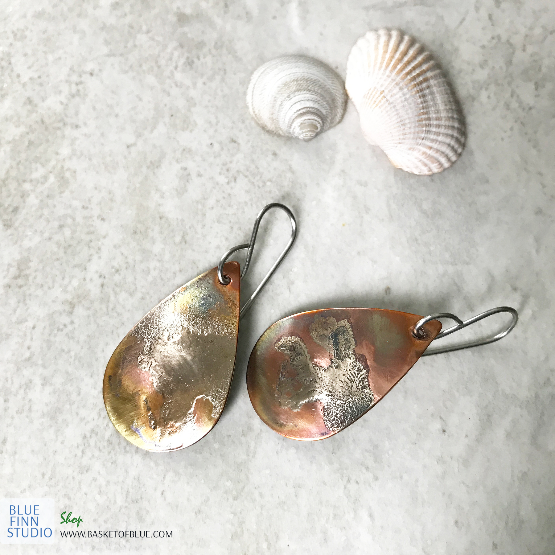 Mixed metal rustic oval earrings