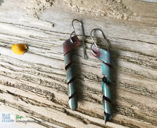 green enamel twist corkscrew earrings