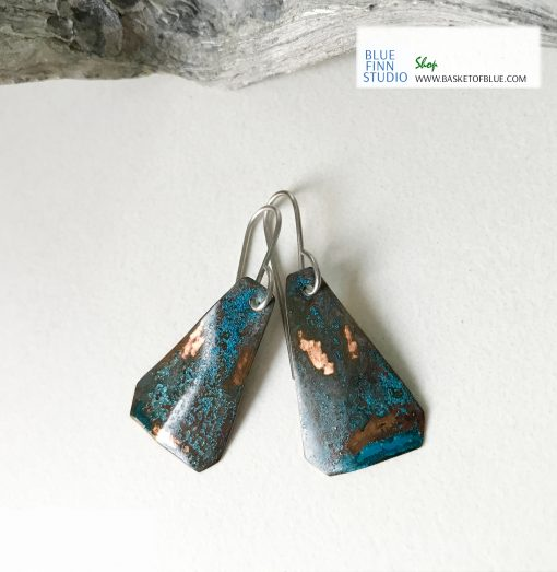 Blue natural patina triangle copper earrings