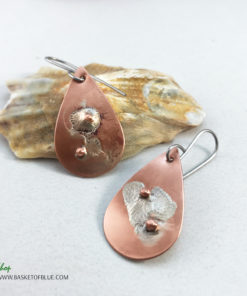planet earrings mixed metal copper and silver