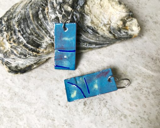 Blue enamel wave earrings