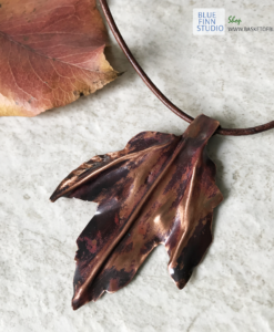 copper leaf necklace