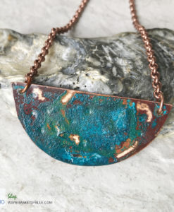 Copper Verdigris Patina Moon Pendant