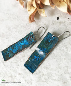 long blue patina rectangle earrings