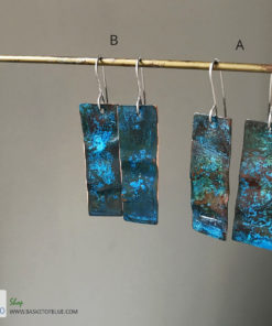 long blue patina rectangle earrings