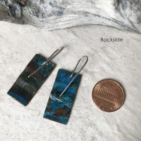rustic blue patina copper earrings
