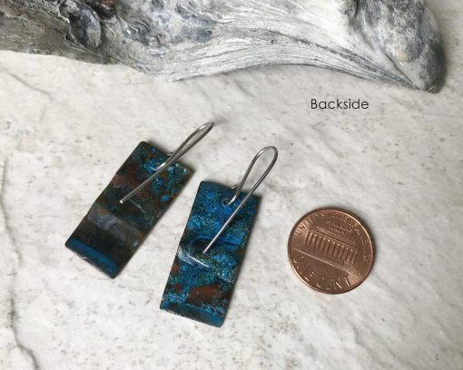rustic blue patina copper earrings