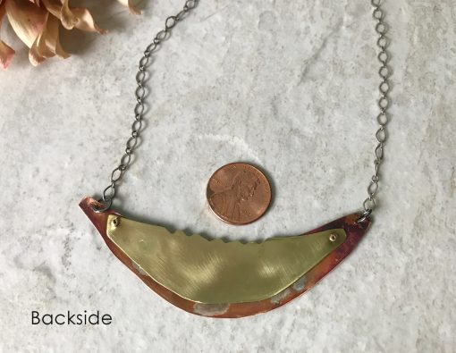 Mixed metal copper and brass necklace