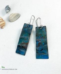 blue copper patina earrings