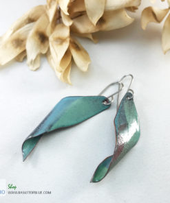 enameled seedpod earrings