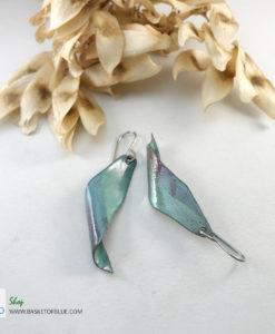 enameled seedpod earrings