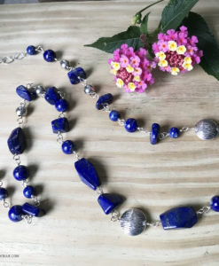 long lapis bead necklace