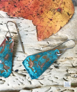 blue green verdigris patina triangle earrings