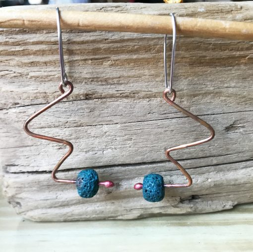 Copper lava bead squiggle earrings