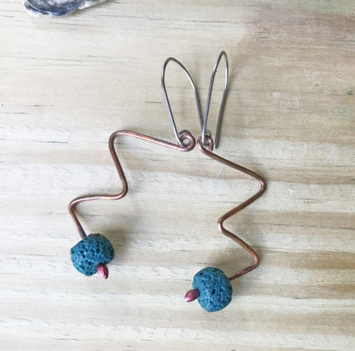 Copper turquoise Lava bead squiggle earrings