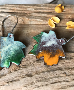 enameled copper maple leaf earrings