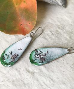 enamel oval teardrop earrings