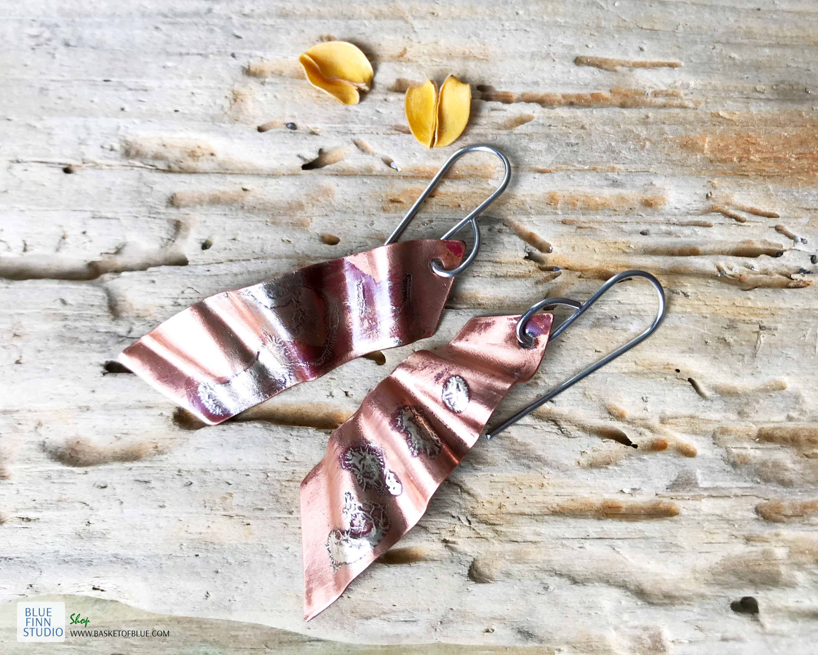 copper silver mixed metal fused earrings