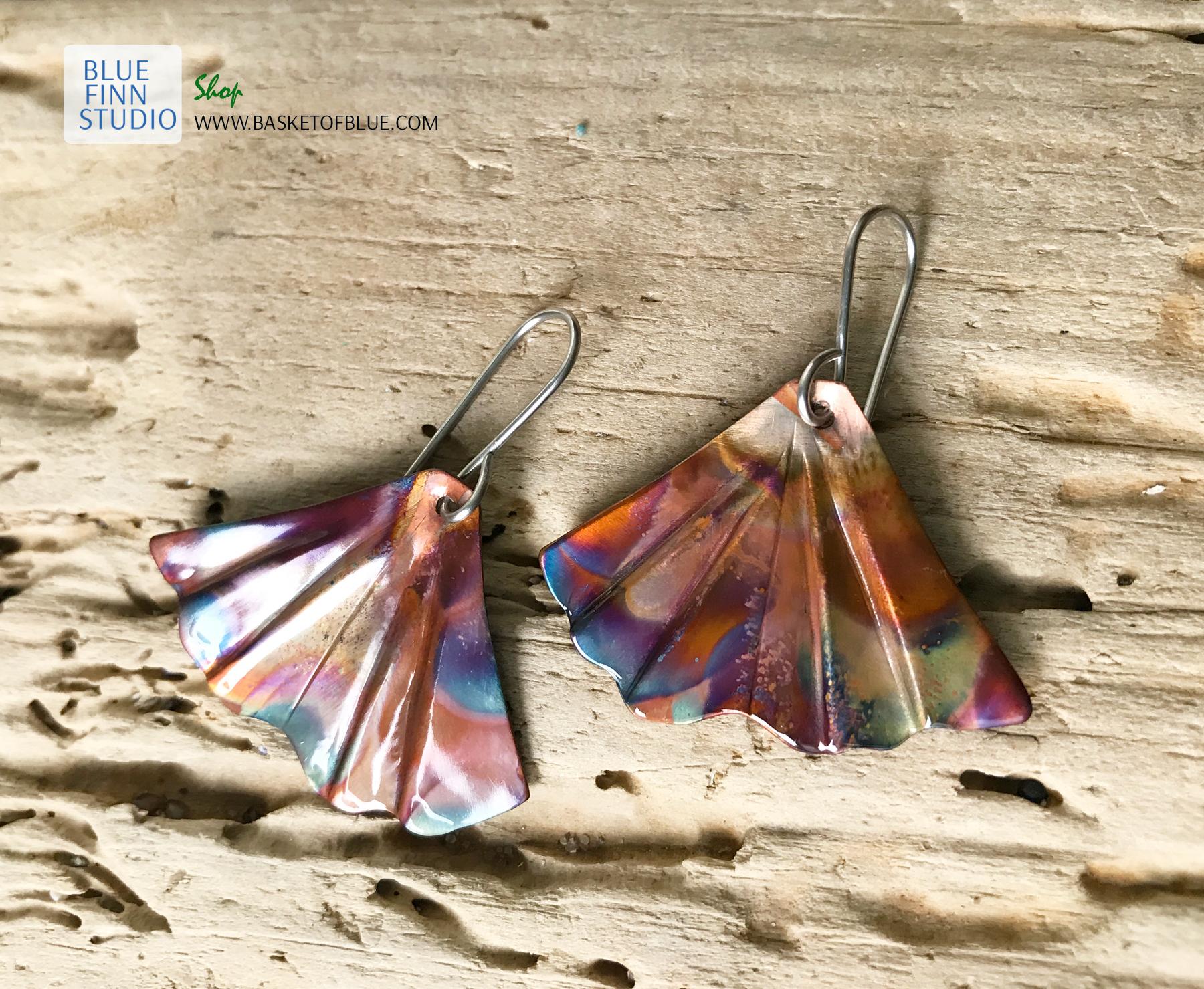 Ginkgo leaf earrings flame painted copper