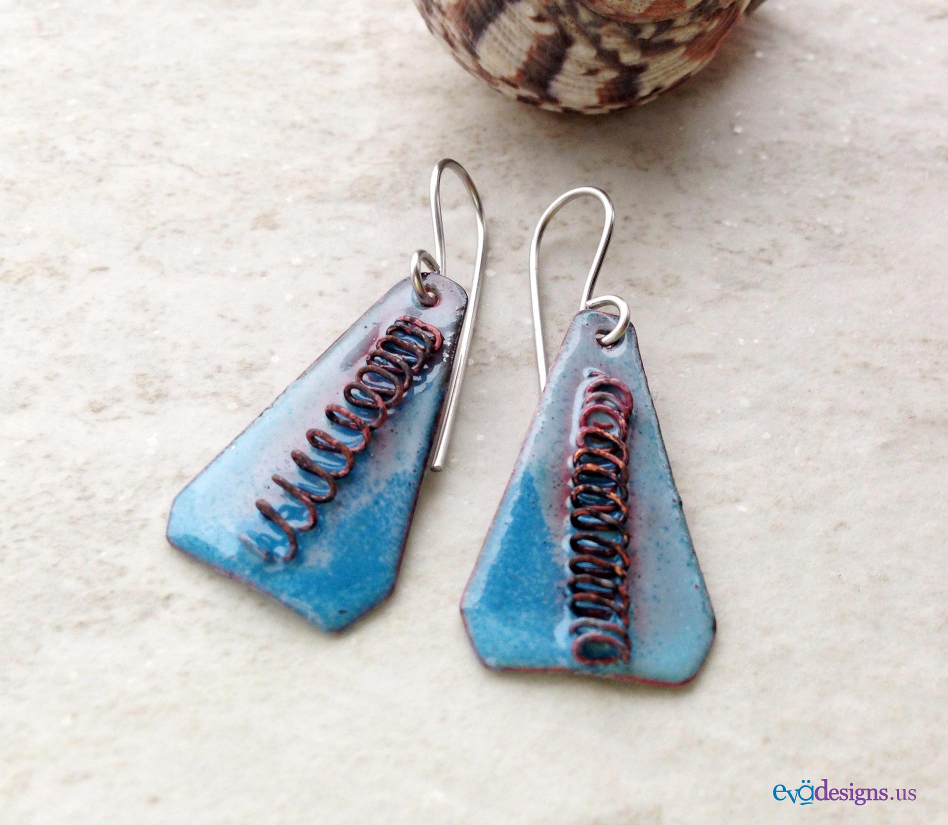 blue enamel triangle earrings