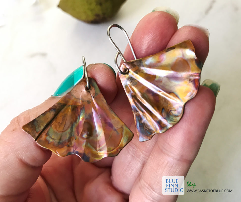 Mermaid tail earrings Ginkgo Leaf Flame Painted Copper