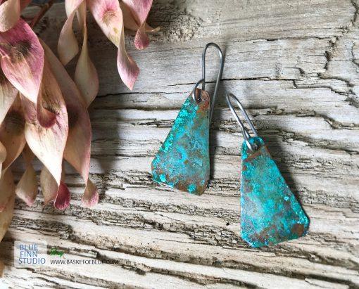Green copper patina earrings Verdigris