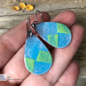 Blue Green Enamel teardrop Diamond Earrings
