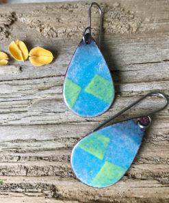 Blue Green Enamel teardrop Diamond Earrings