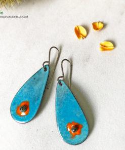 Blue Oval Enamel Orange Murrini Glass Earrings