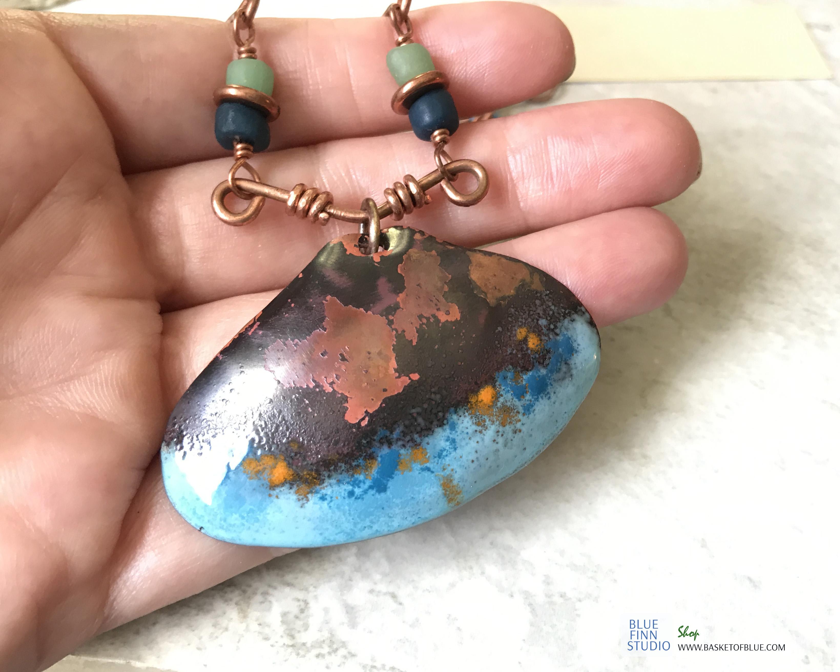 enamel shell necklace