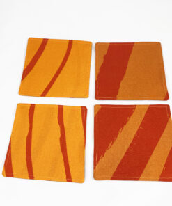 marimekko orange fabric coasters silkkikuikka design