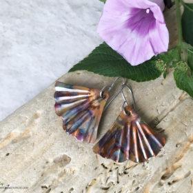 ginkgo leaf flame painted copper earrings