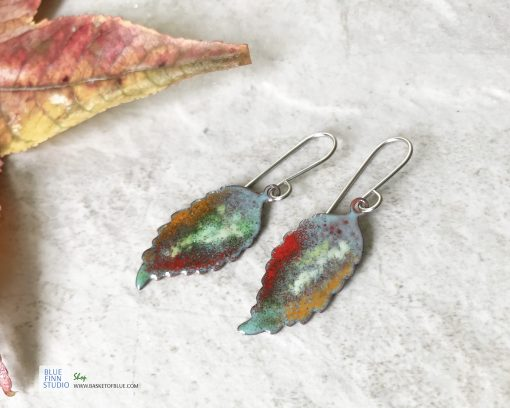 colorful enamel leaf earrings