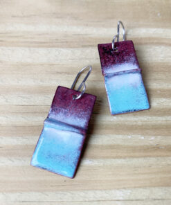rustic copper enamel rectangle earrings
