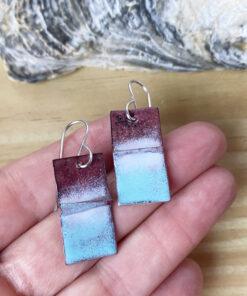 rustic copper enamel blue rectangle earrings