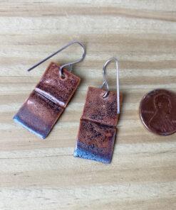 rustic copper enamel rectangle earrings