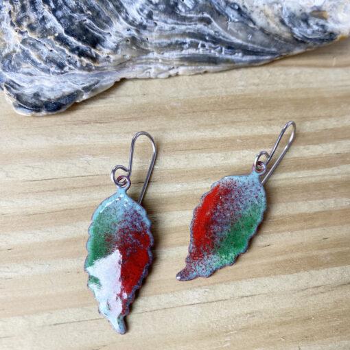 copper enamel leaf green and red leaf rustic