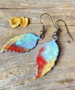 colorful copper enamel leaf earrings