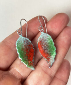 copper enamel leaf green and red leaf rustic
