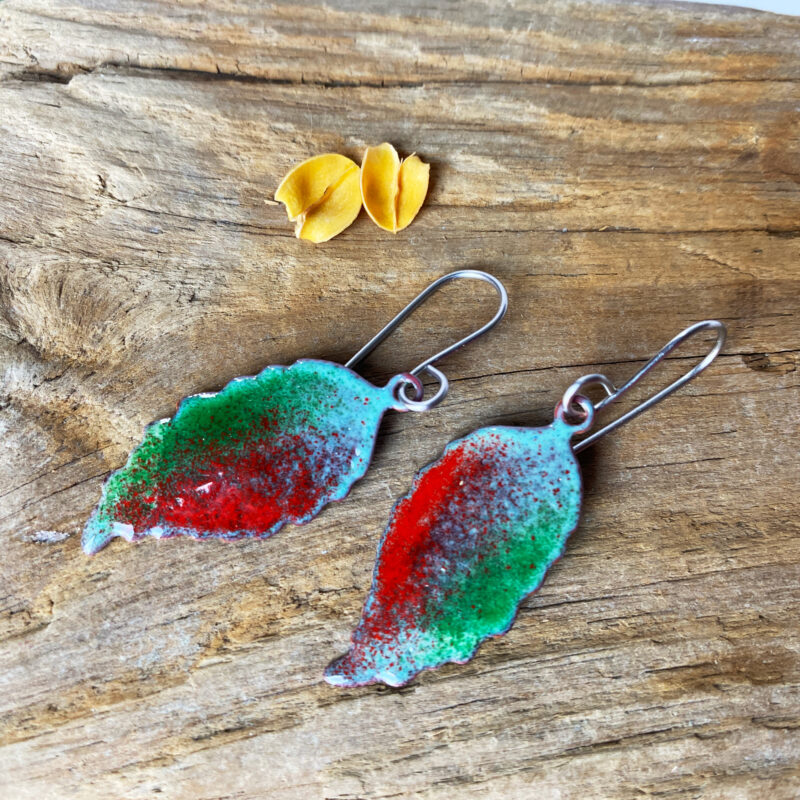 copper enamel leaf green and red leaf rustic artisan jewelry