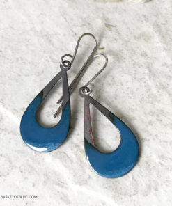 blue open oval enamel fire patina earrings