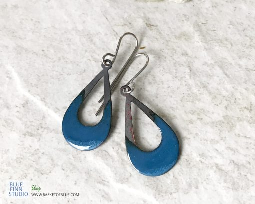 blue open oval enamel fire patina earrings