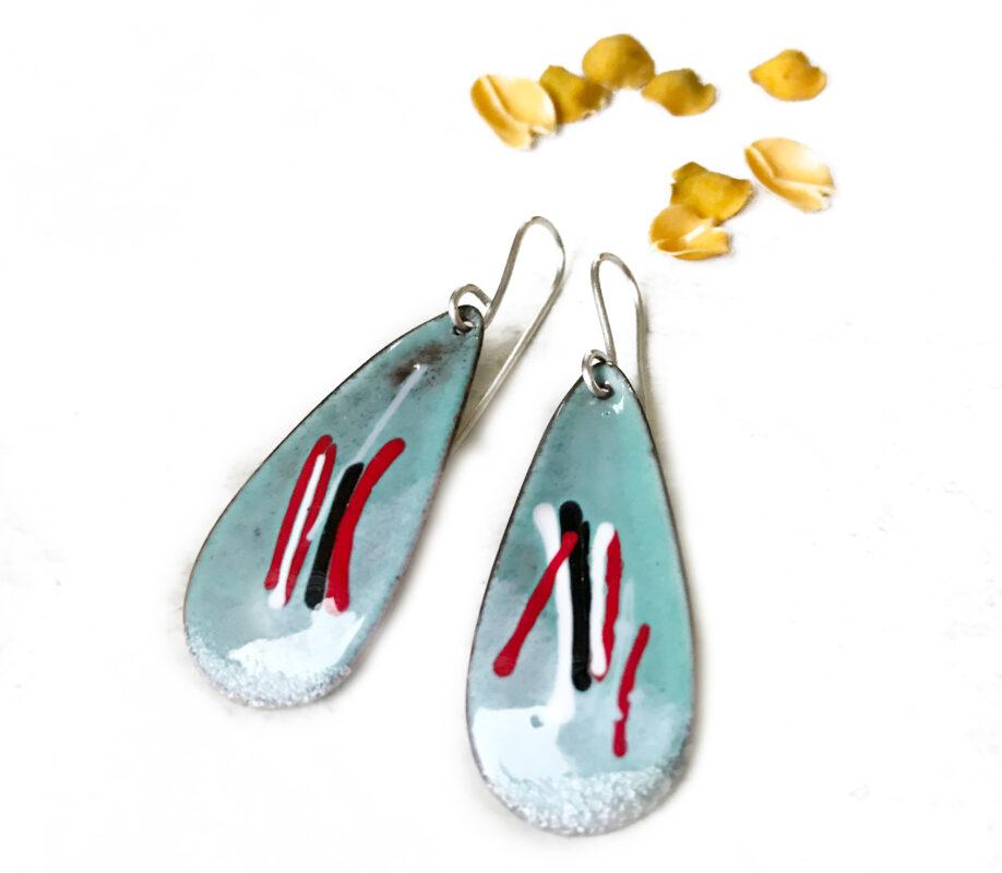light blue long oval color mixed enamel earrings