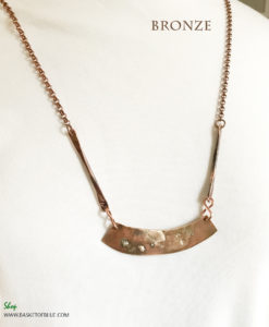 Bronze Bar Necklace Fused Sterling